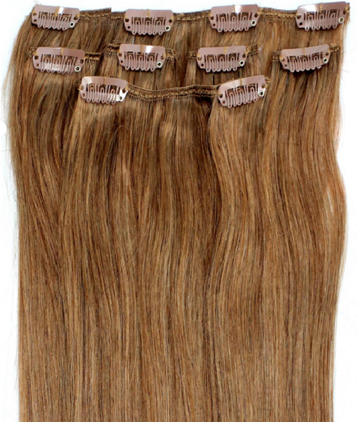 Golden Brown Virgin Brazilian Straight Human Hair Remy Clip - In Hair Extensions