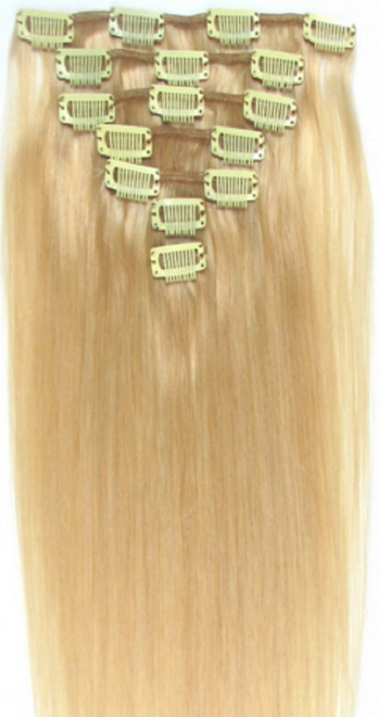 Light Honey Blonde Brazilian Straight Human Hair Remy Clip - In Hair Extensions
