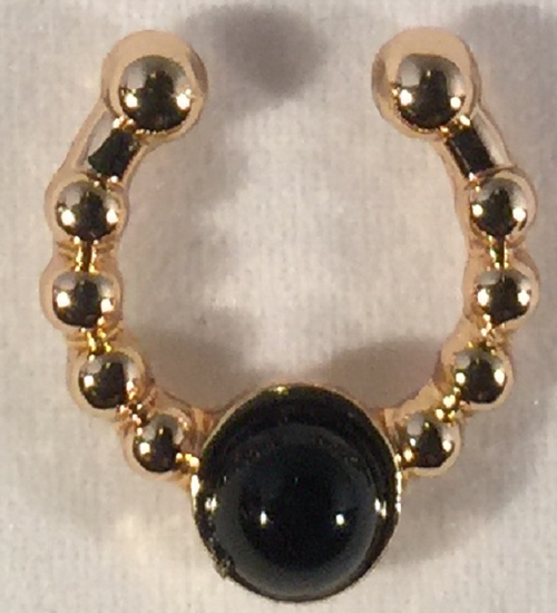 Faux Septum Ring (Gold -Black Stone)