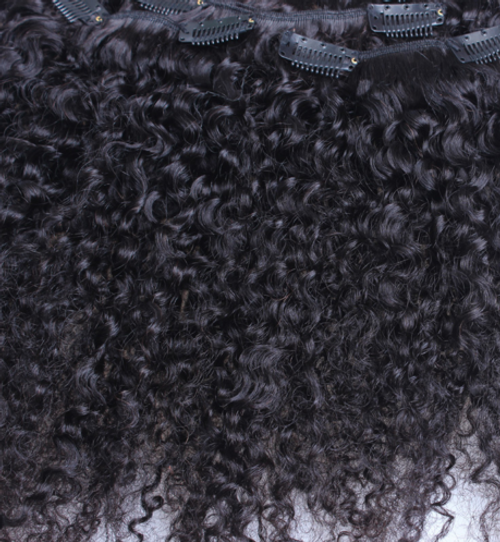 Mongolian Kinky Curly Clip In Hair Extensions (16  inches)