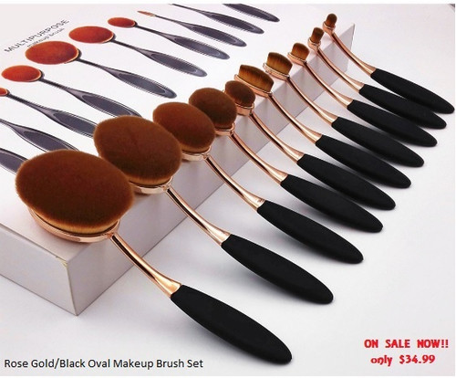 Rose Gold/Black Oval Makeup Brush Set (10 piece set)