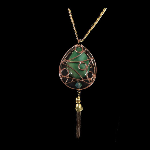 Caged Jade Bronzed Necklace w/Tassel (Long)