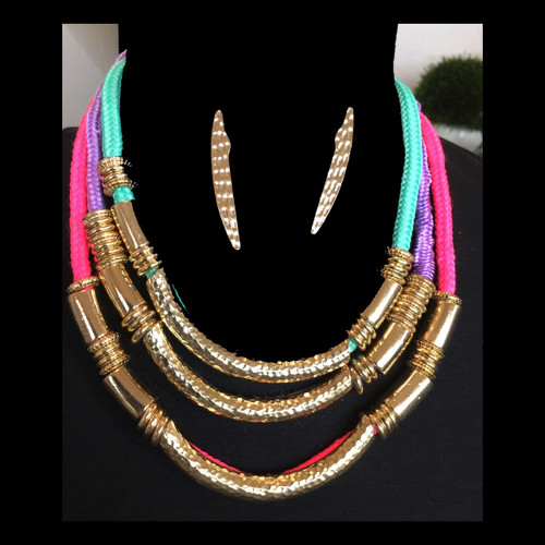 Bold Gold Pastel Necklace and Earring Set 1
