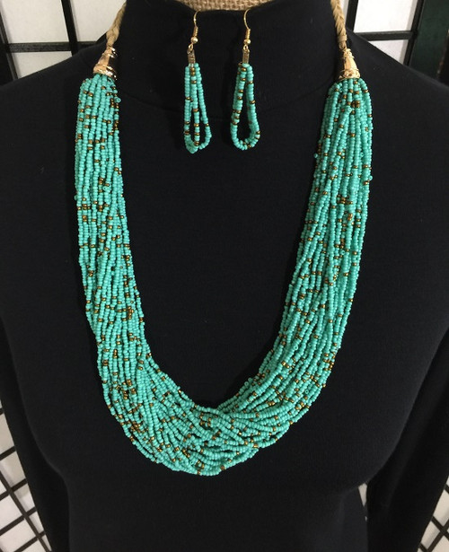 Long Beaded Necklace Earring Set - Mint Green, Antique Gold Accent 1