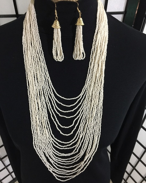Long Layered Beaded Necklace Earring Set 1