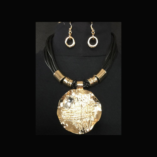 BOLD Gold Pendant Necklace Earring Set