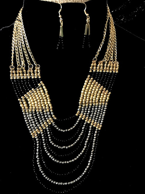Black and Gold Beaded Necklace and Earring Set