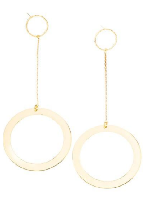 Gold Tiered Circle Earrings with Dangle Chain