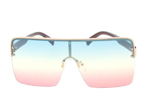 Extra Large Square Lens Glasses (Tricolor - Blue Yellow Pink)