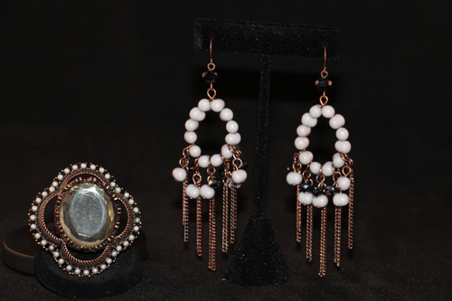 Elegant Copper and Grey Beaded Earrings with matching over-sized ring