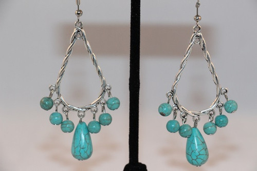 Antique Silver and Turquoise Tear Drop Dangle Earrings