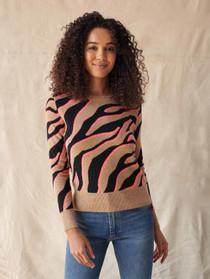 Cashmere Zebra Crew Neck Sweater