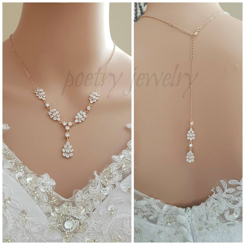 Bridal Jewellery Back Necklace in Rose Gold-Julia