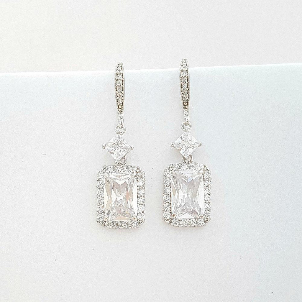 Cubic Zirconia Dangle Earrings for Wedding-Alice