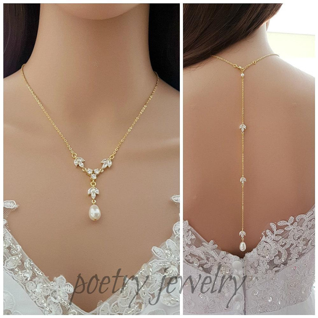 Gold Back Drop Bridal Necklace, Pearl Crystal Necklace