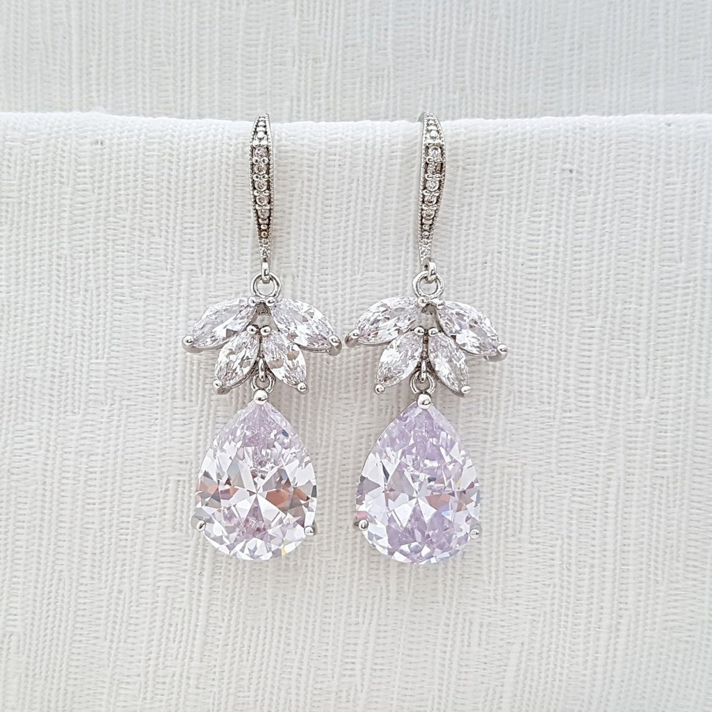 Rose Gold Wedding Earrings, Crystal Bridal Earrings, Clear Cubic Zirconia, Drop Dangle Earrings, Wedding Jewelry, Roxanne