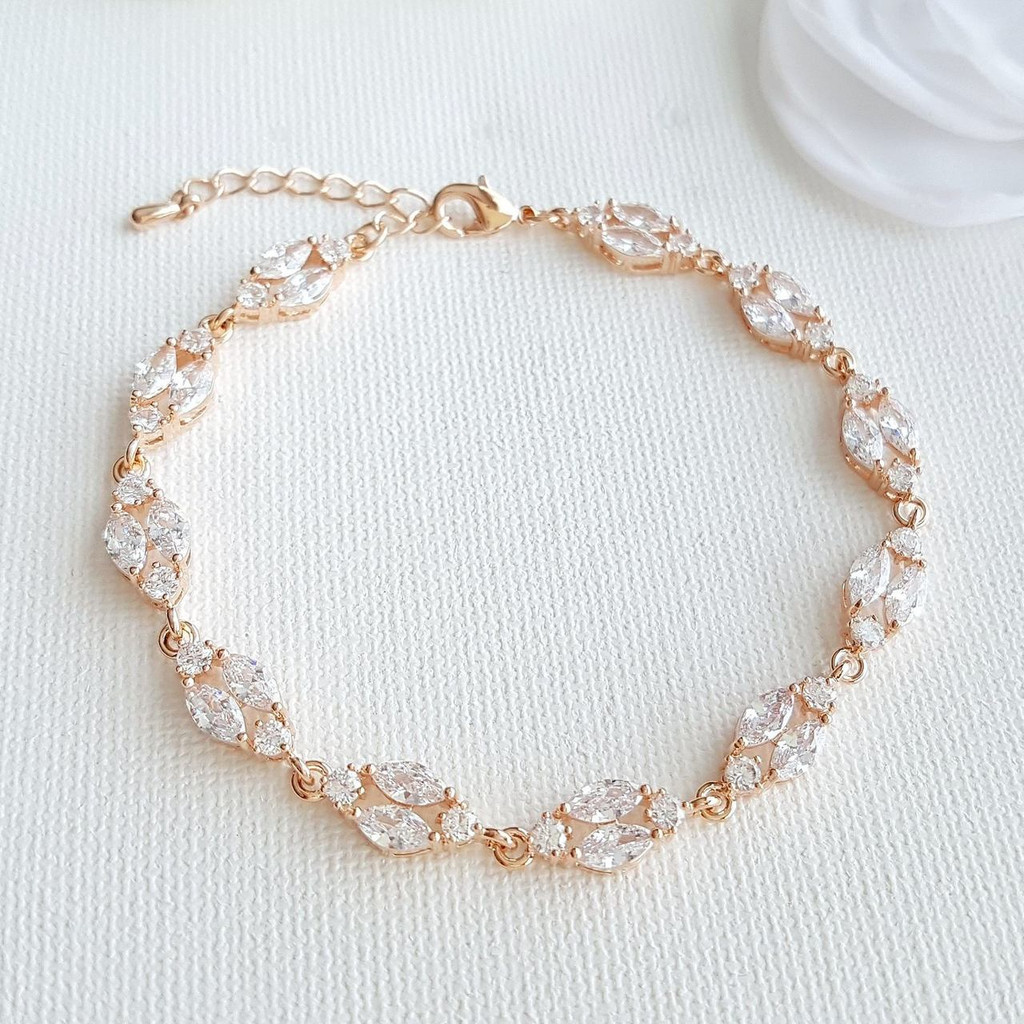Rose Gold Crystal Bracelet Wedding Bracelet Dainty Bridal Bracelet Marquise Bracelet Gold Tennis Bracelet Wedding Bridal Jewelry, Hayley