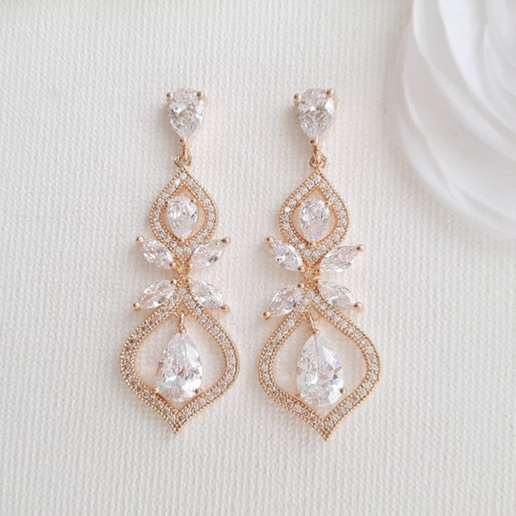 Rose Gold Cubic Zirconia Earrings for Brides