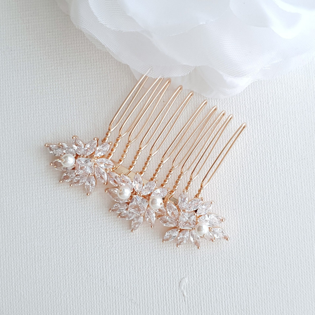Rose Gold Hair Combs for Brides- Bridget