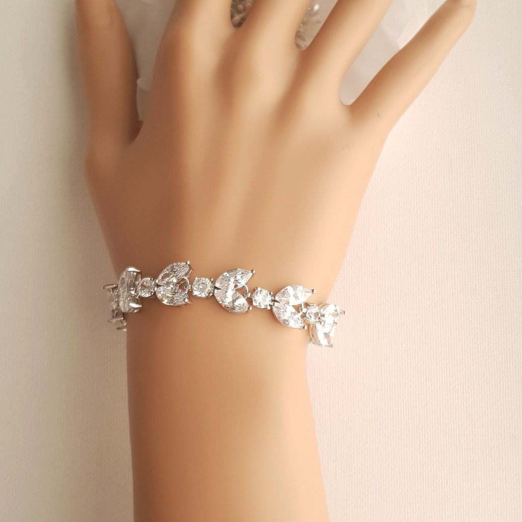 Cubic Zirconia Wedding Day Bracelet- Mia