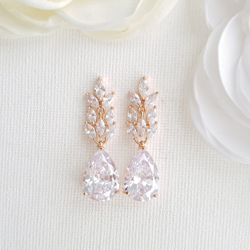 Rose Gold Leaf Bridal Earrings-Willow