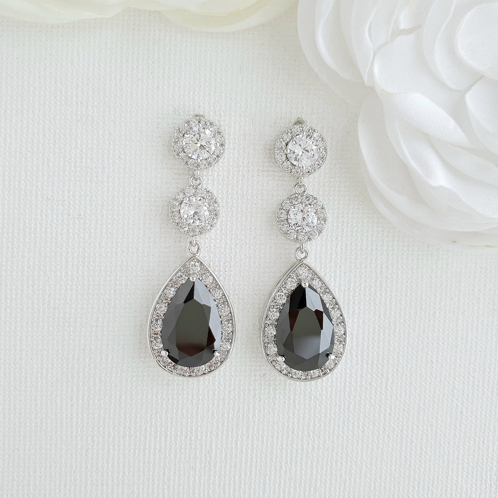 Long Black Drop Earrings- Zoe