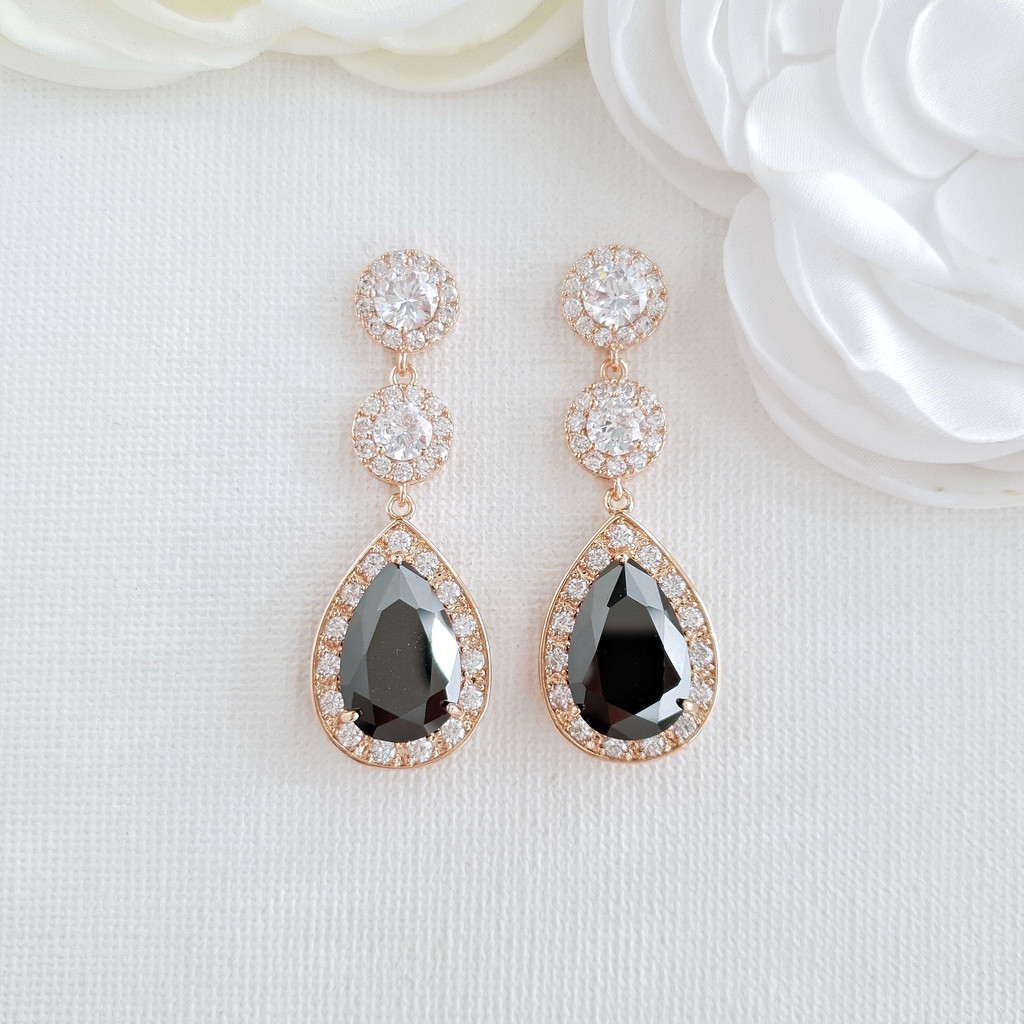Rose Gold Long Black Earrings-Zoe