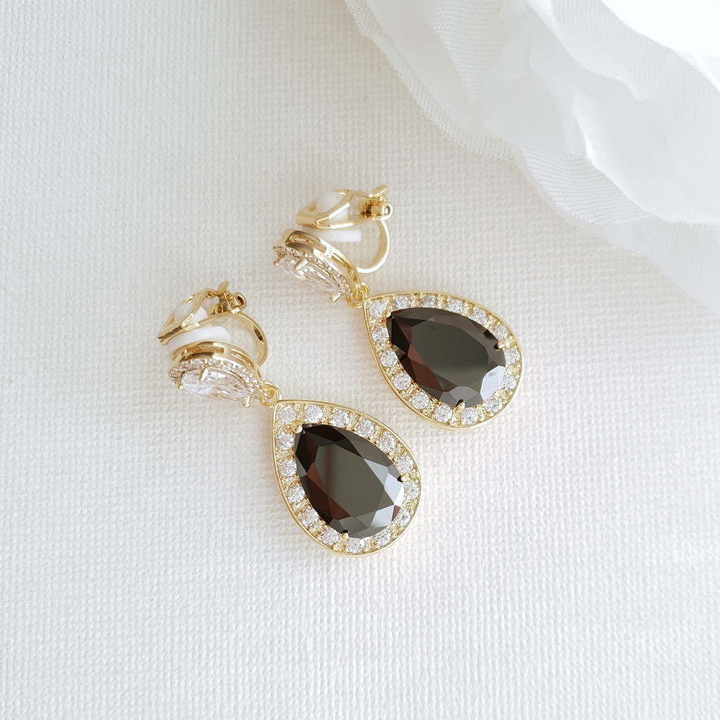 Cubic Zirconia Teardrop Clip On Earrings in Black & Gold- Zoe