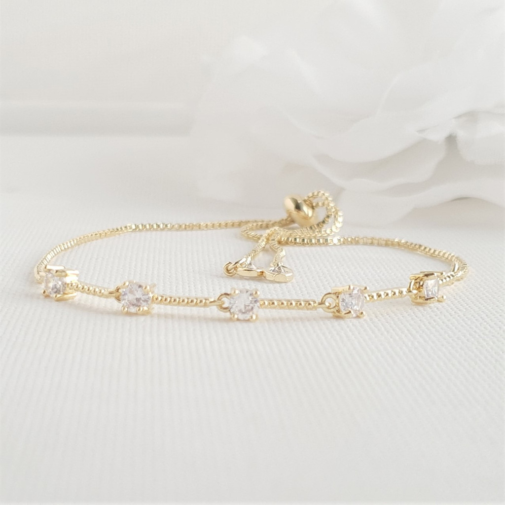 Delicate Bridal Bracelet in Gold for Brides & Bridesmaids- Ginger