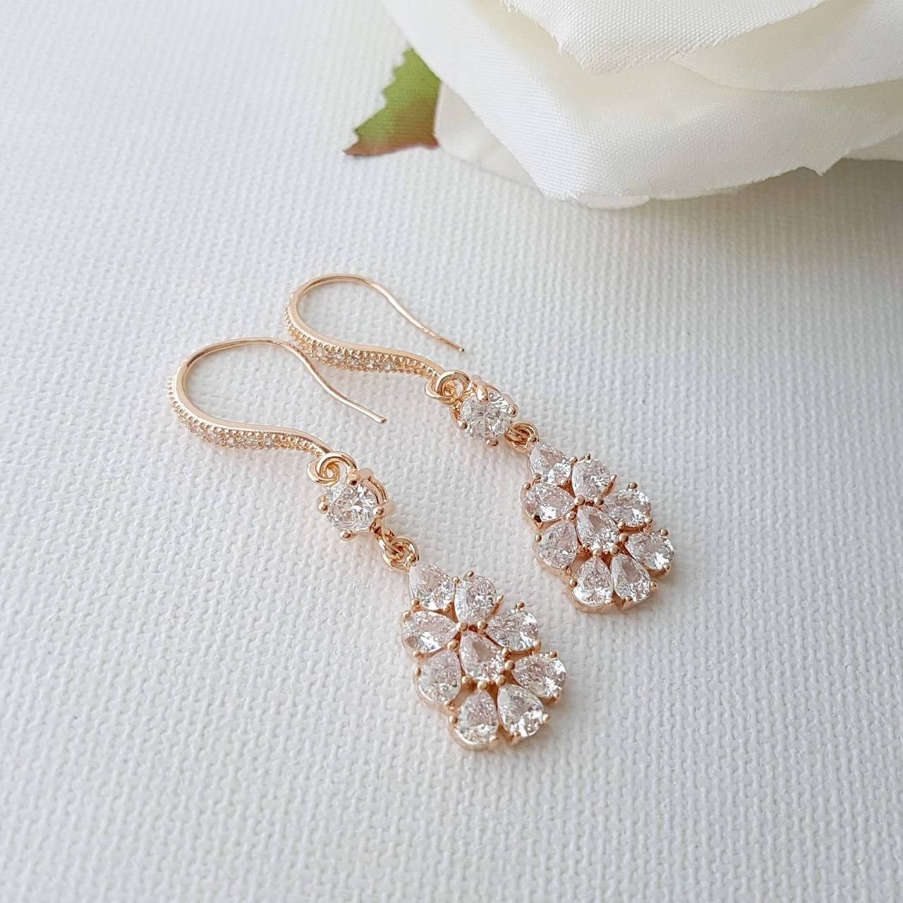 Rose Gold Bridal Earrings Crystal Dangle Earrings Wedding
