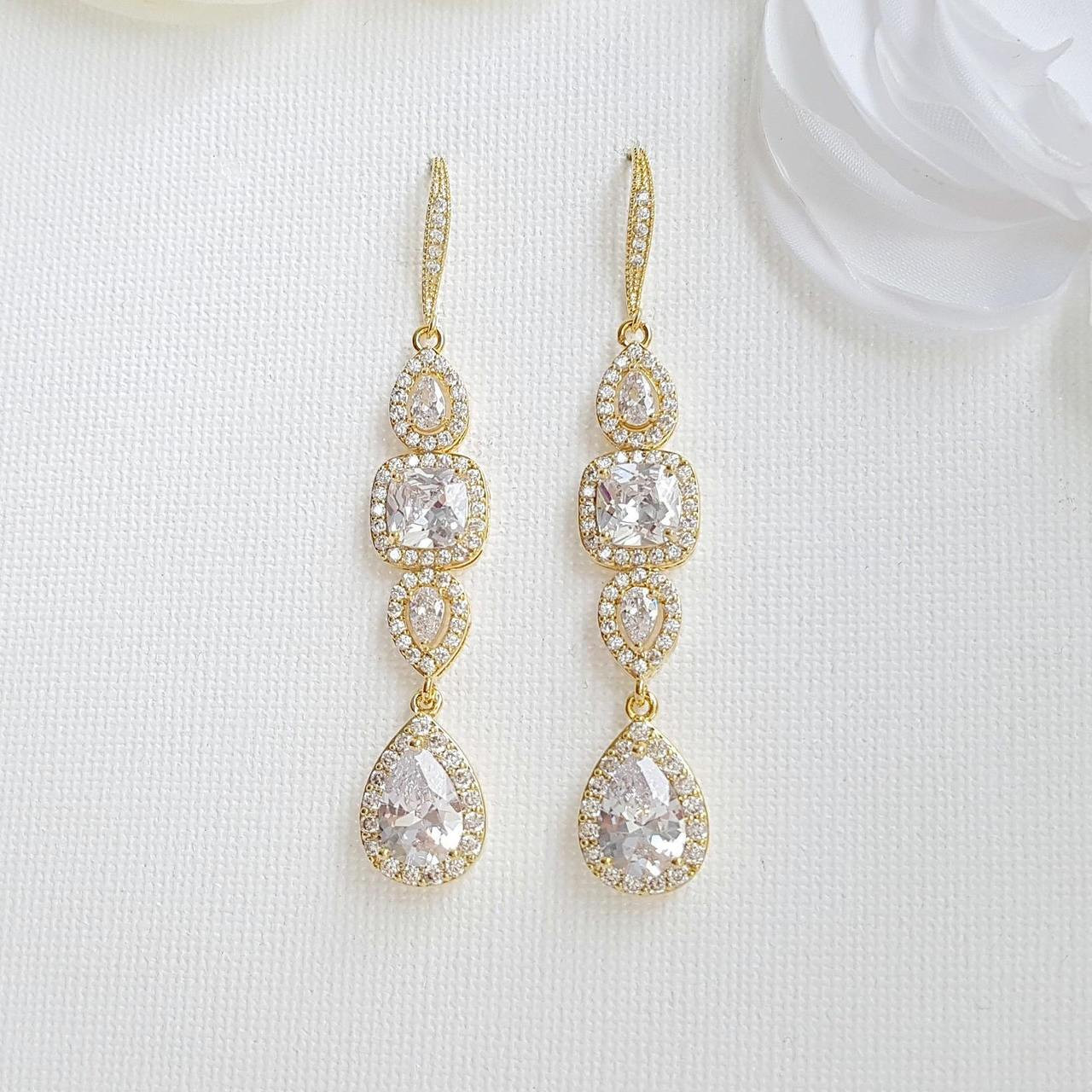 4563485ff Long Gold Drop & Dangle Earrings for Sparkly Bridal & Wedding Day Look