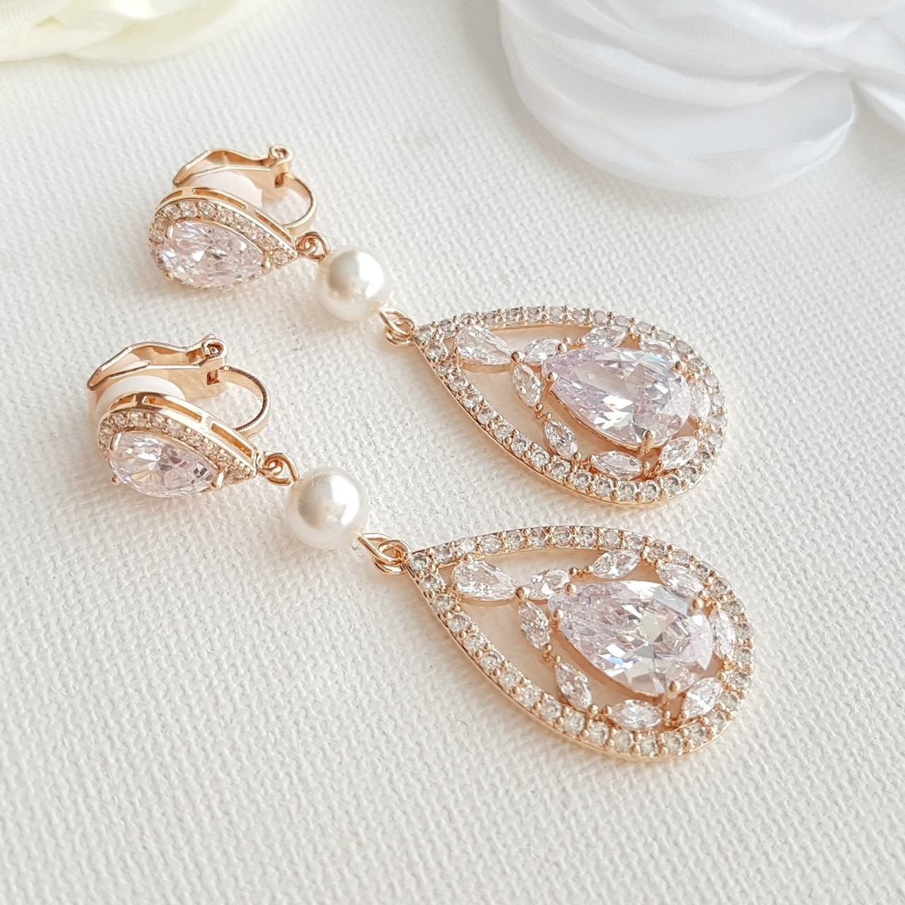 Rose Gold Bridal Earrings Clip On Wedding Jewelry Long Pearl Crystal