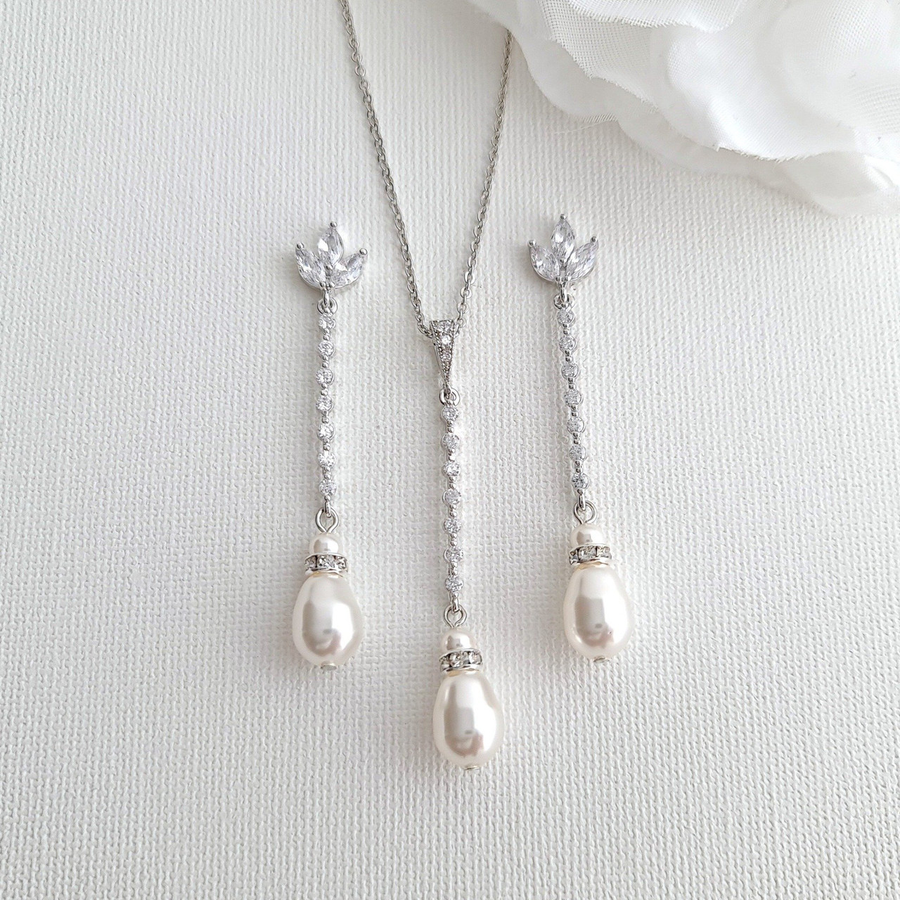 Earrings Necklace Set Small Delicate Teardrop and Pearl Bridal ...