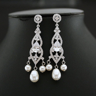 Elegant Bridal Chandelier Earrings-Laura