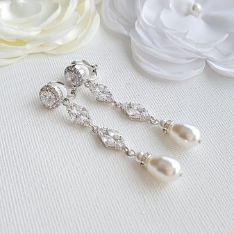 Clip On Pearl Earrings- Hayley