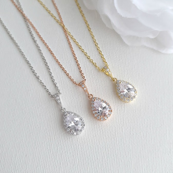 Teardrop Bridal & Bridesmaids Pendant Necklace-Emma
