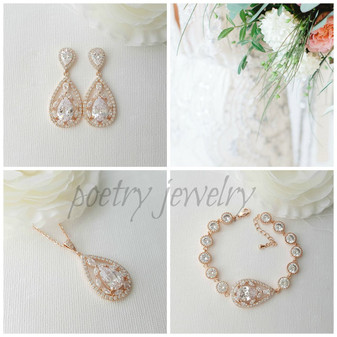 Rose Gold Bridal Set, Wedding Earrings Necklace Set, Rose Gold Bracelet, 3 Piece Bridal Set, Teardrops Bridal Jewelry Set Crystal, Esther