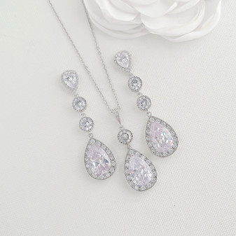 Wedding Necklace Set with Long Earrings-Evana