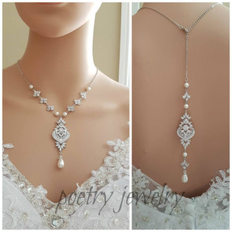 Backdrop Bridal Necklace, Wedding Back Necklace, Crystal Backdrop Necklace, Swarovski Pearls, Cubic Zirconia Bridal Necklace, Rosa