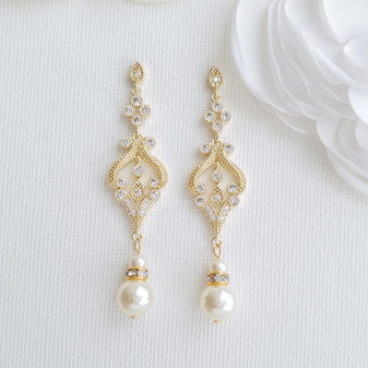 Vintage Gold Earrings-Elizabeth
