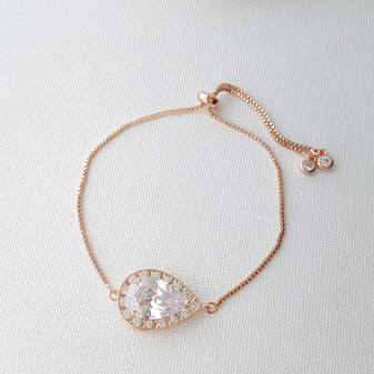 Rose Gold Simple Bracelet, Bridal Crystal Adjustable Bracelet, Rose Gold Wedding Bracelet, Bridesmaid Bracelet, Bridal Jewelry, Evelyn