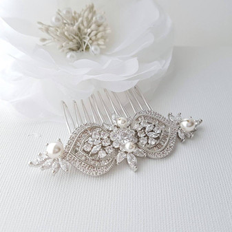 Crystal Bridal Hair Comb, Wedding Hair Comb, Pearl Bridal Hair Piece, Swarovski Pearls, Rose Gold, Gold, Bride Hair Jewelry, Rosa