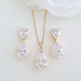 Clear Cubic Zirconia Earrings and Necklace Set in Rose Gold-Clara