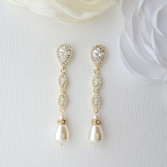 Slim Gold and Pearl Drop Earrings-Abby