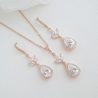 Rose Gold Necklace and Earrings Set for Weddings-Lotus