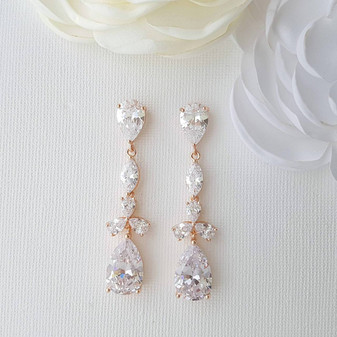 Rose Gold Drop Earrings-Adeline