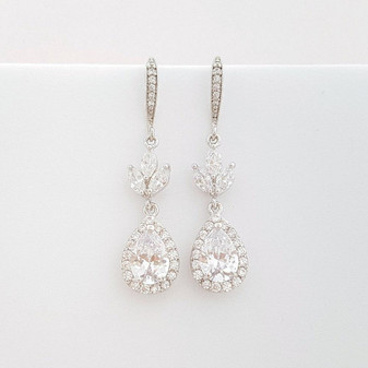 Silver Hook Earrings for Weddings & Brides- Lotus