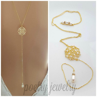 Gold Backless Necklace for Weddings- Sadie