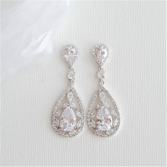 Crystal Wedding Drop Earrings -Esther