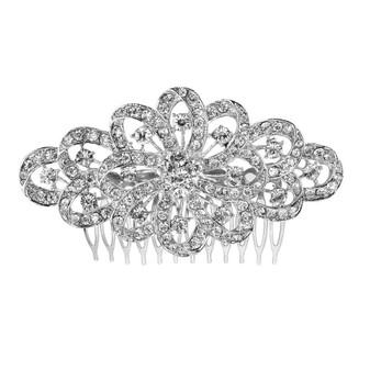 Ribbon Style Crystal Hair Comb for Brides